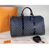 Сумка Louis Vuitton KEEPALL дорожная в клетку серая