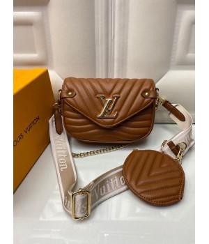 Сумка Louis Vuitton Pochette metis коричневая с белым