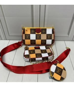 Сумка Louis Vuitton Multi Pochette в клетку желто-коричневая