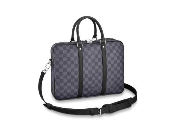 Портфель Louis Vuitton PORTE-DOCUMENTS VOYAGE в клетку серый