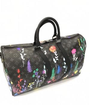 Дорожная сумка Louis Vuitton с рисунком коричневая