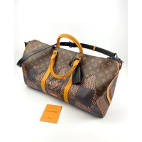 Сумка Louis Vuitton KEEPALL дорожная коричневая с желтым