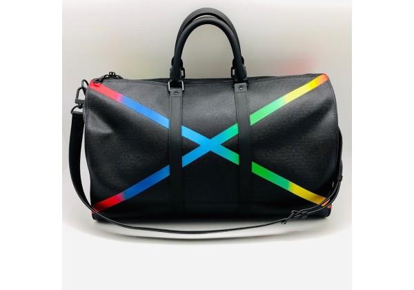 Сумка Louis Vuitton KEEPALL дорожная с полосами черная