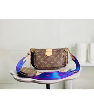 Сумка Louis Vuitton Multi Pochette с синим ремешком коричневая