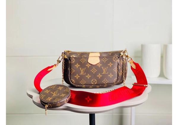 Сумка Louis Vuitton Multi Pochette с красным ремешком коричневая