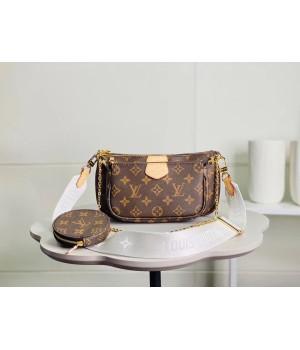 Сумка Louis Vuitton Multi Pochette с белым ремешком коричневая