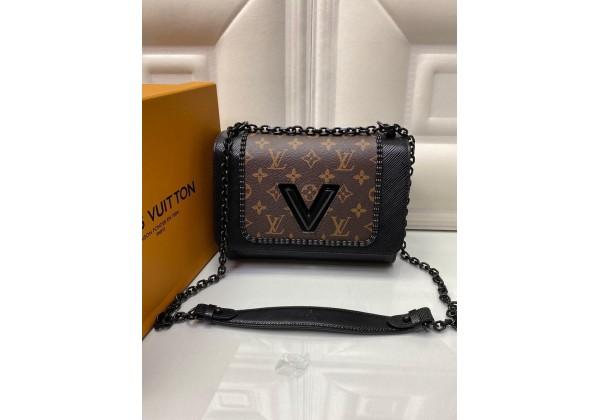 Сумка Louis Vuitton через плечо в клетку черно-коричневая