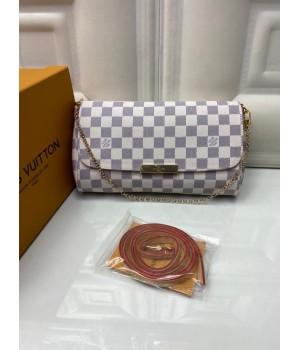Сумка Louis Vuitton Felicie в клетку белая