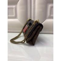 Сумка Louis Vuitton через плечо черно-коричневая с красным
