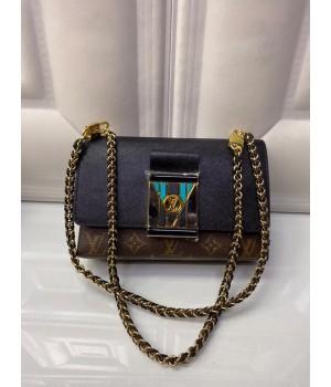 Сумка Louis Vuitton черно-коричневая с синим